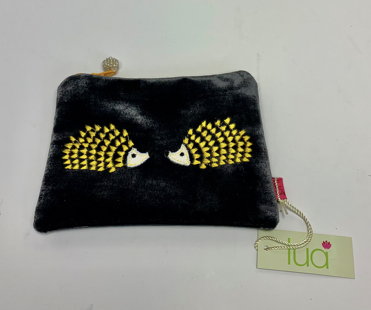 Lua Small Velvet Sac with Hedgehog Motif - multiple colours