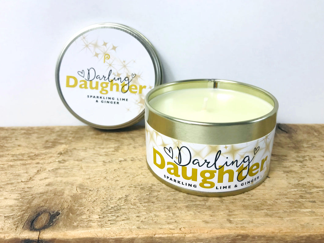 'Darling Daughter' - Sparkling Lime and Ginger Scented Tinned Candle