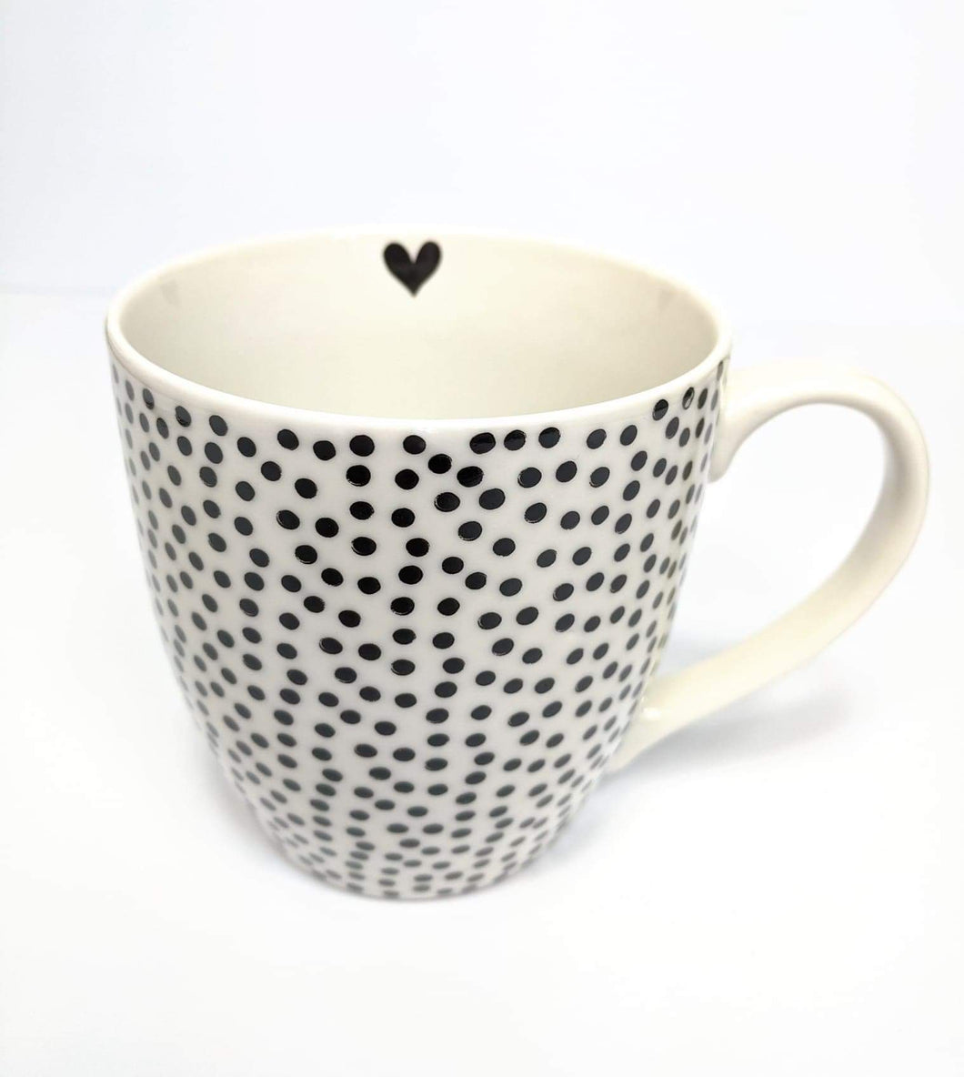 Ceramic Mug White with black dots
