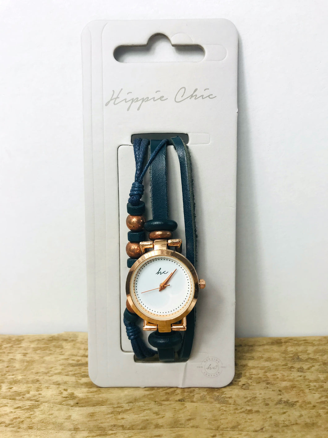 Hippie Chic Blue and Rose Gold Bracelet Watch