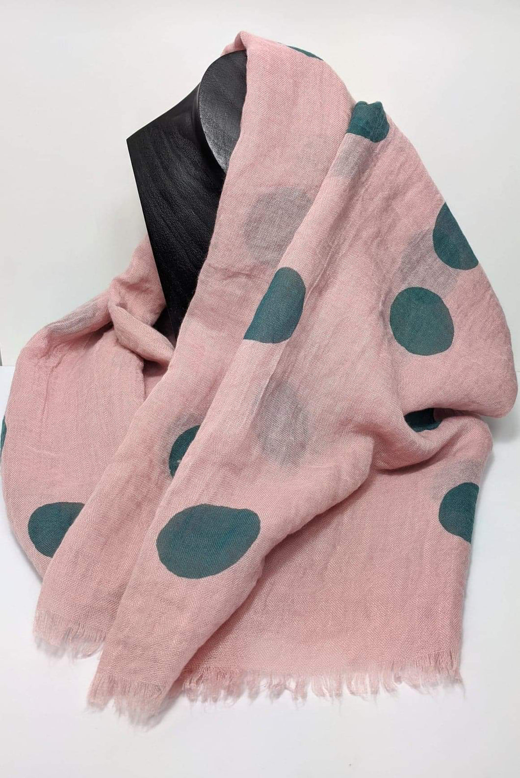 Lua Pale Pink and Teal Polka Dot Scarf