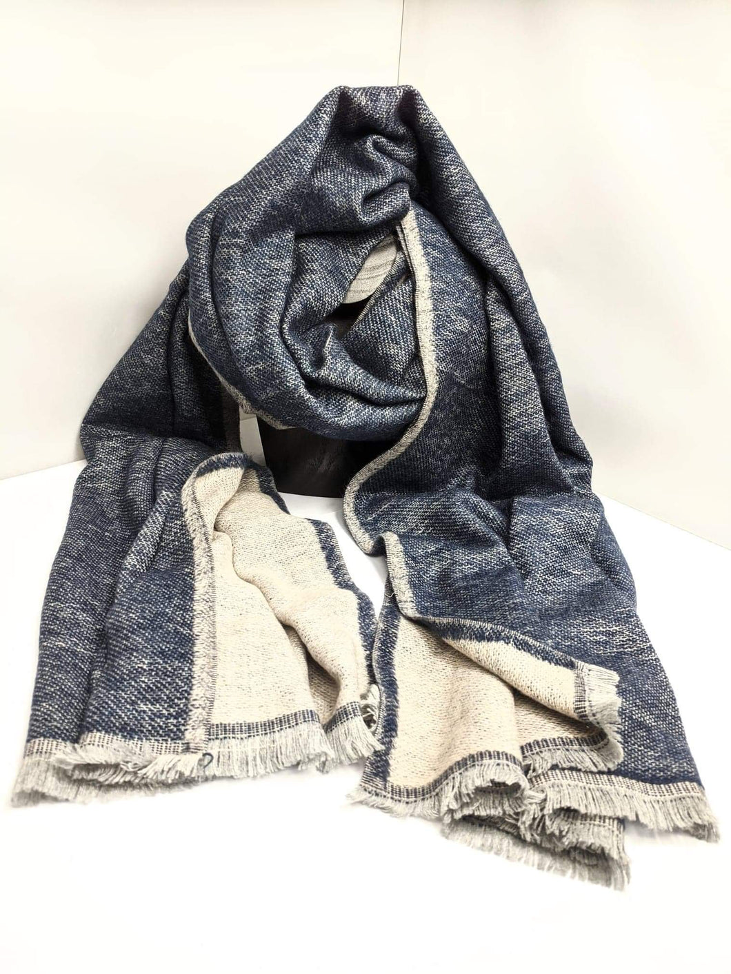 Reversible Grey and Denim-Blue Scarf