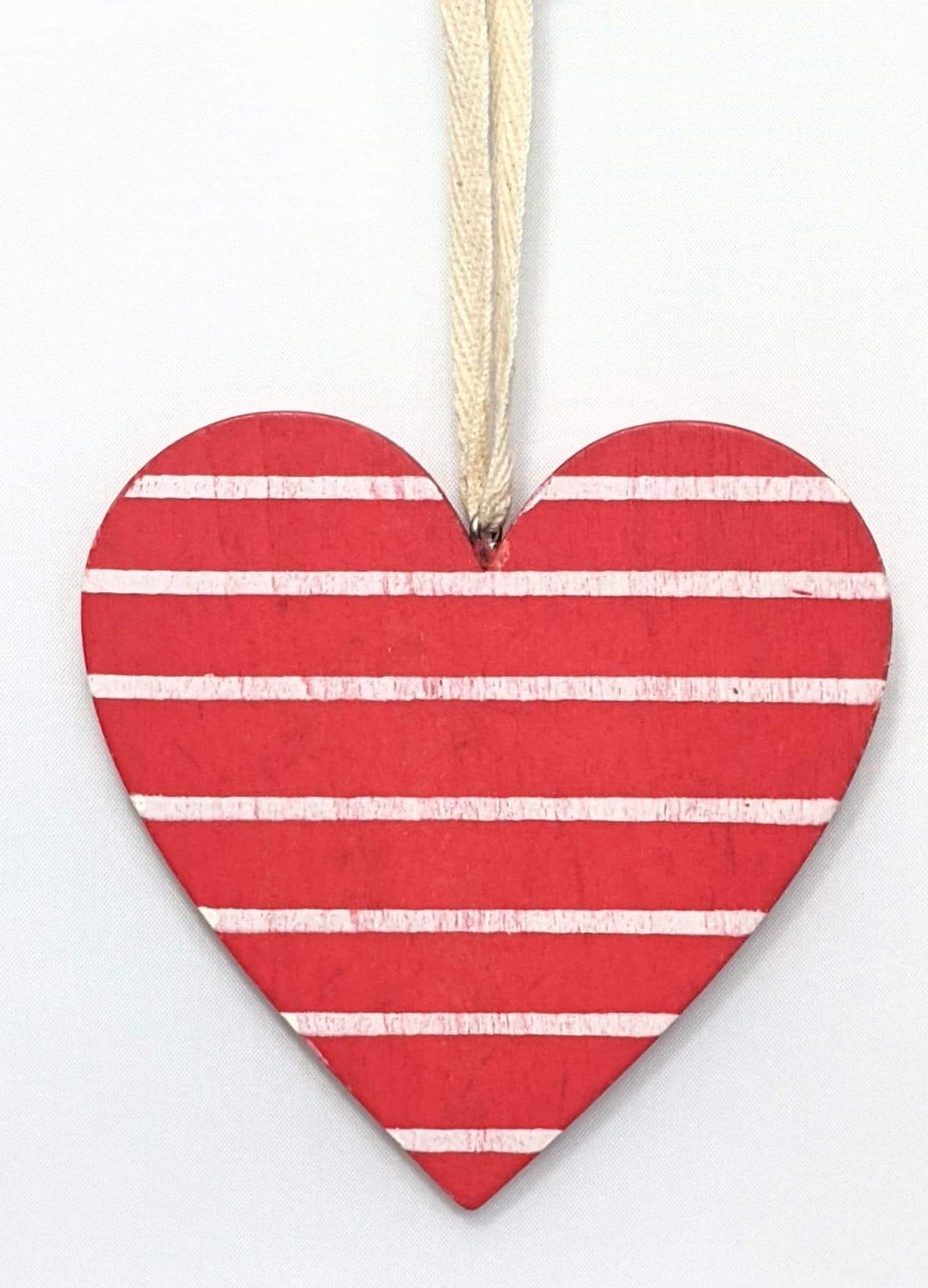 Red and White Striped Wooden Heart Hanger