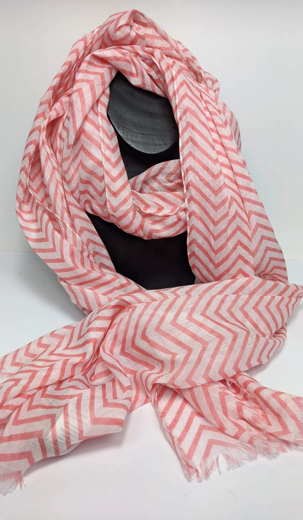 Salmon Pink and White Zigzag Scarf