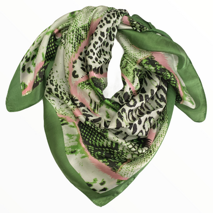 Jungle green scarf with animal details