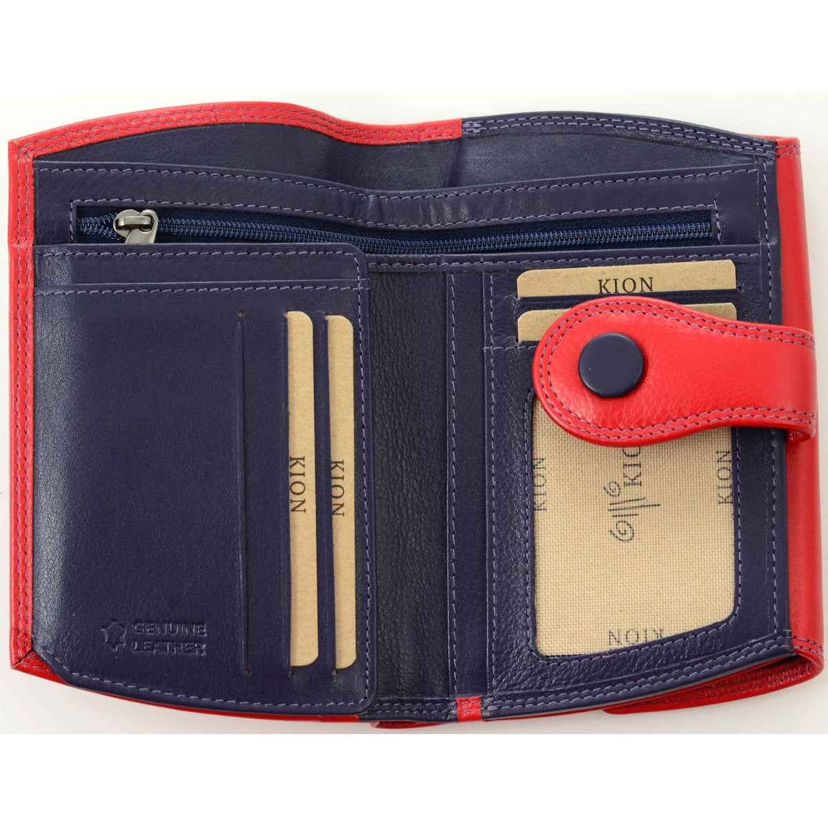 Red  leather wallet with blue details