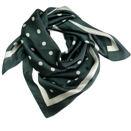 Dark emerald chic polka dots scarf