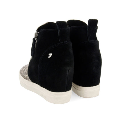 Ultra confort leather sneakers-boots with 5cm internal anatomic wedge