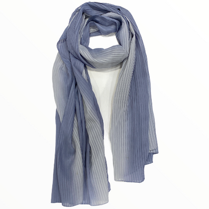 Degrade grey blue pleated fashion scarf