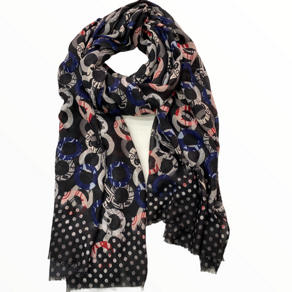 Trendy blue soft scarf with circles