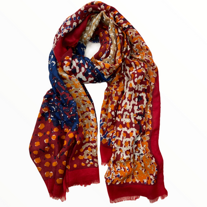 Red orange soft scarf with leopard effect details
