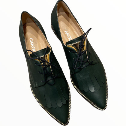 Black office style leather loafer