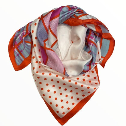 Ivory chic scarf with coral and lilac details