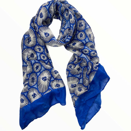 Royal blue artistic flowers scarf