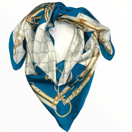 Deep sea blue scarf with chic details