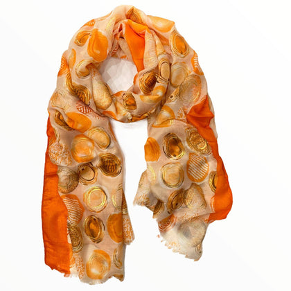 Orange scarf with gold art polka dots