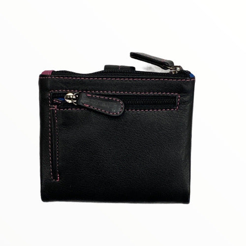 Black multispace leather small wallet