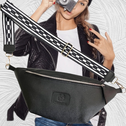 Xl black soft leather belt bag and messenger