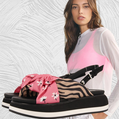 Pink floral with zebra all day anatomic sandals