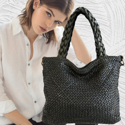 Black Handwoven  leather tote bag unique holding and messenger