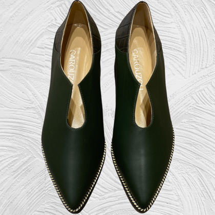 Olive green leather loafers