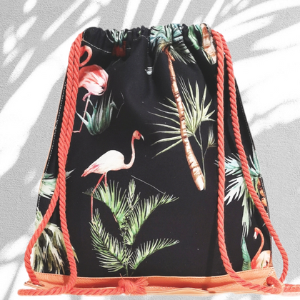 Double face sporty leather backpack with forest print
