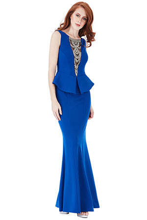 Royal blue mbellished Neckline Maxi Dress