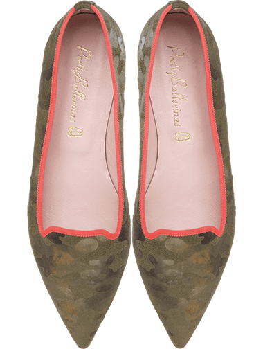 Ella camouflage oil green ballerinas with strong orange details