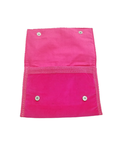 Luxury fuschia textile glitter clutch bag