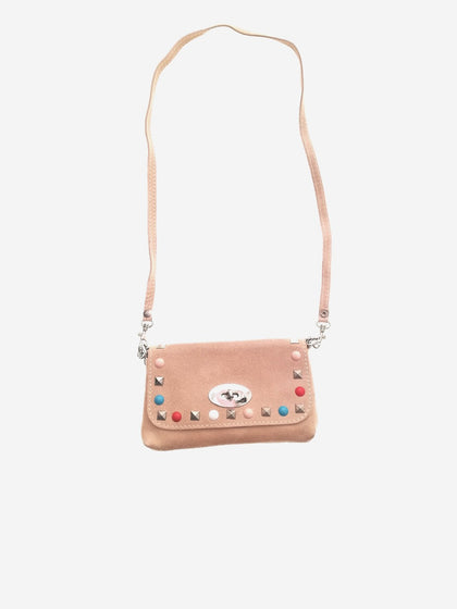 Palid pink stones messenger leather bag