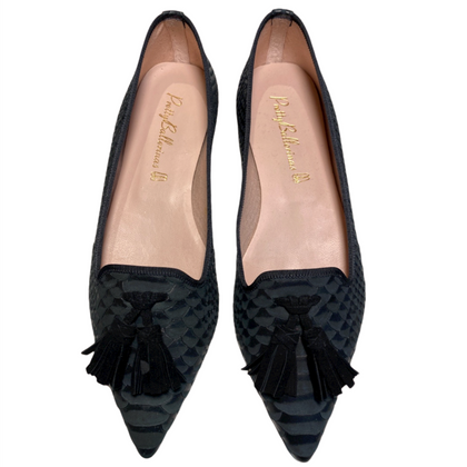 Ella.Pretty ballerinas black snake loafers with pointed toe