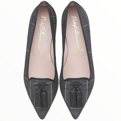 Ella Prince of Wales check suede with soft black leather tassels
