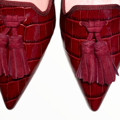 Angelis Ella.Pretty ballerinas wine red loafers with pointed toe