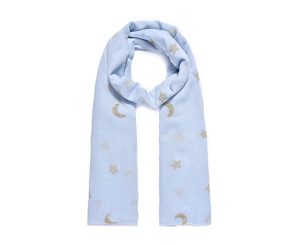 Sky blue moon and star handmade scarf