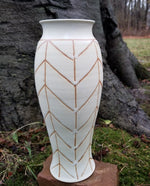 Load image into Gallery viewer, White Chevron Vase