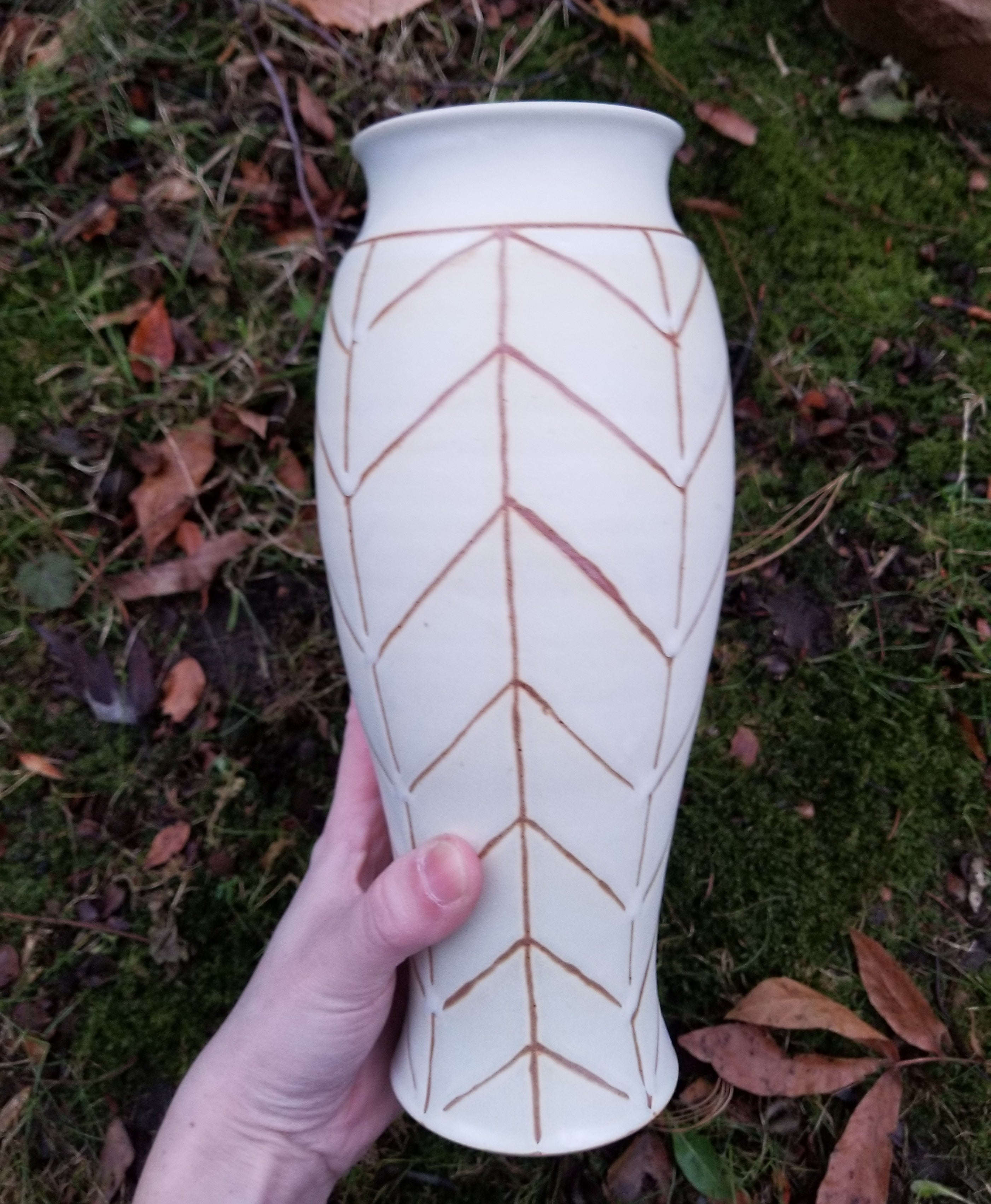 White Chevron Vase