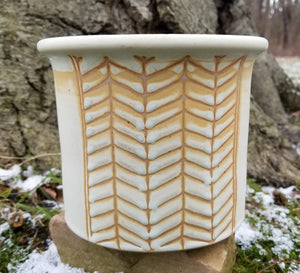 Utensil Holder in Eggshell Chevron Pattern - Small