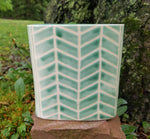Load image into Gallery viewer, Windowsill Vase in Green Chevron Pattern