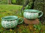 Load image into Gallery viewer, Soup Bowls in Green Chevron Pattern