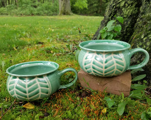 Soup Bowls in Green Chevron Pattern