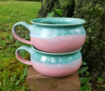 Load image into Gallery viewer, Soup Bowls in Aqua and Pink