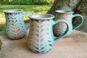 Coffee Mug in Aqua Chevron Pattern with Lavender Blush