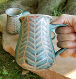 Load image into Gallery viewer, Coffee Mug in Aqua Chevron Pattern with Lavender Blush