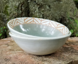 Salad Bowls in Eggshell Chevron Pattern