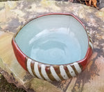 Load image into Gallery viewer, Triangular Serving Bowl in Red Stripe Pattern