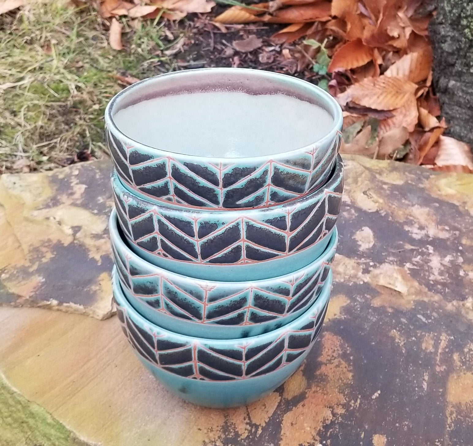 Cereal Bowl in Turquoise Chevron Pattern