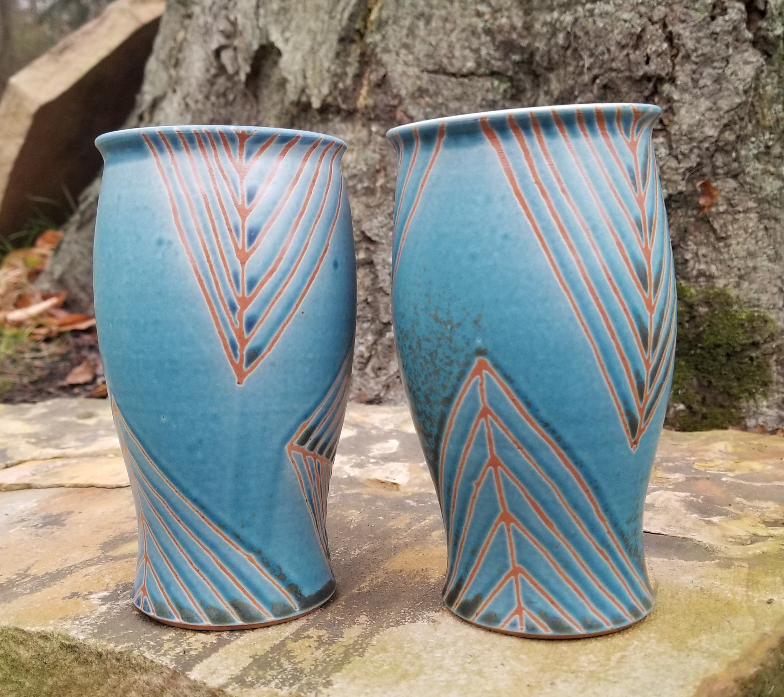 Tumbler in Lapis and Orange Quadrilateral Pattern