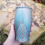 Load image into Gallery viewer, Tumbler in Blue and Orange Geometric Pattern