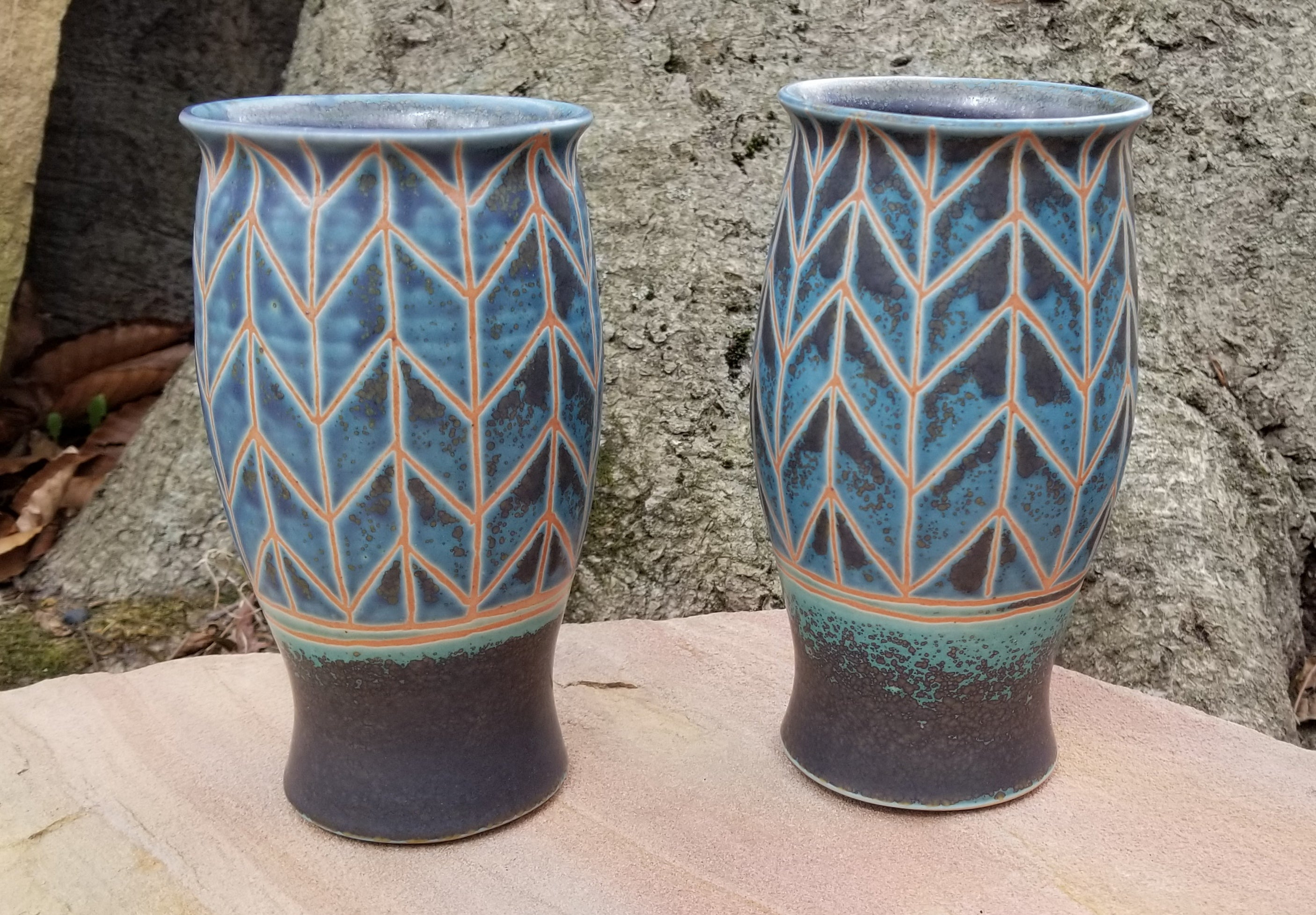 Tumblers in Lapis and Turquoise Chevron Pattern