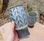 Load image into Gallery viewer, Tumblers in Lapis and Turquoise Chevron Pattern